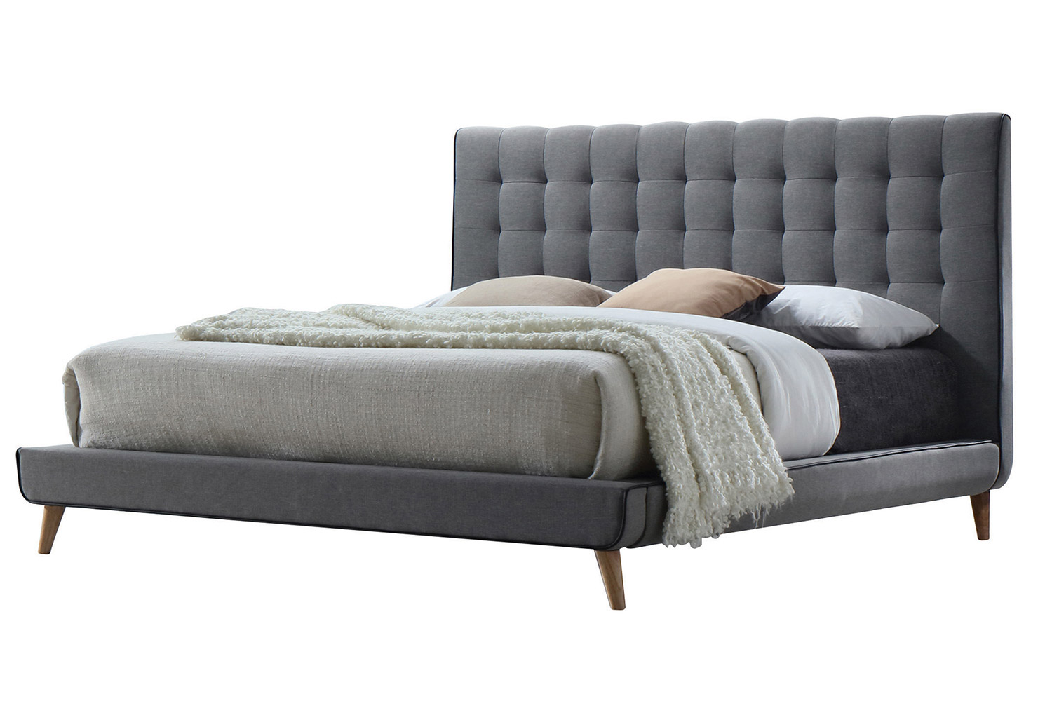 Acme Valda Bed - Light Gray Fabric