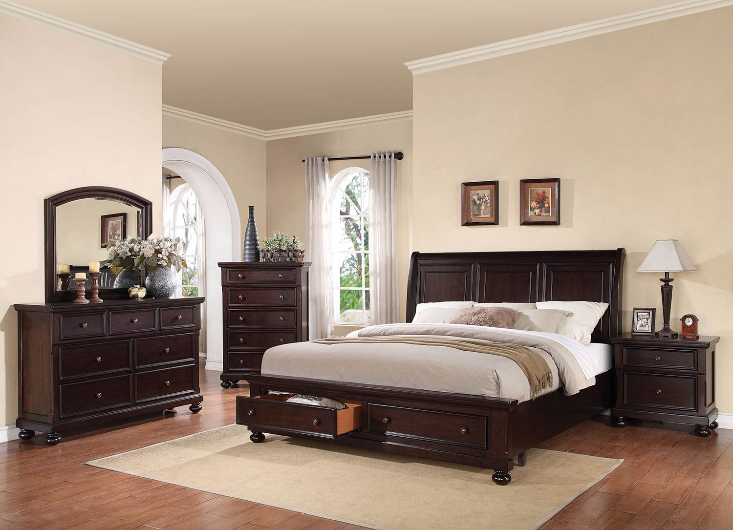 Acme Grayson Bedroom Set with Storage - Dark Walnut