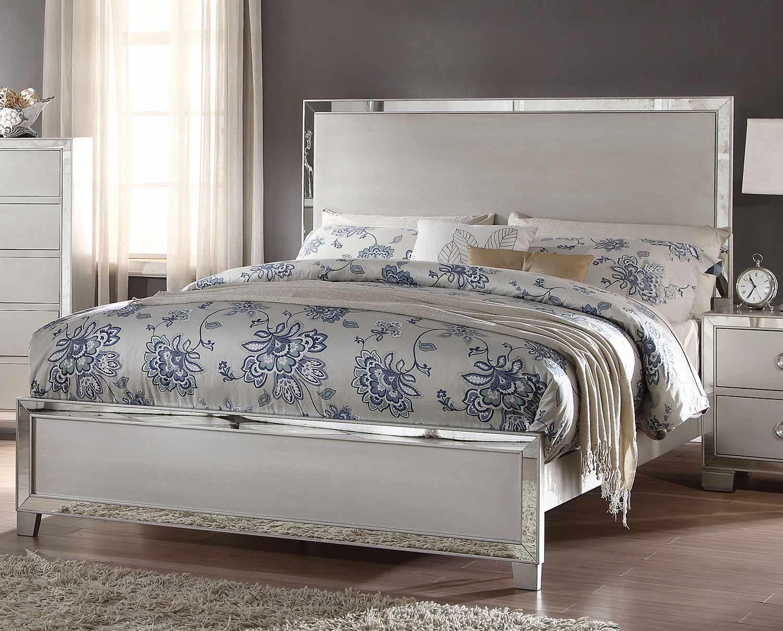 Acme Voeville II Bed (Wooden HB)- Platinum