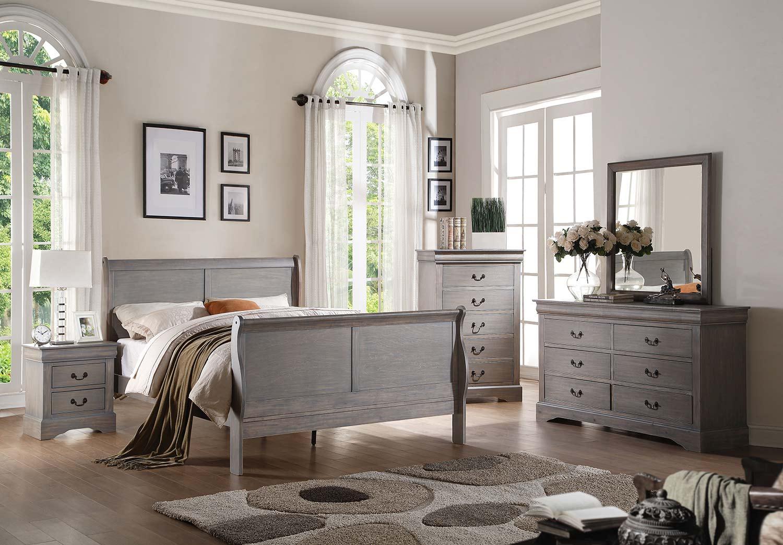 Acme Louis Philippe III Bedroom Set - Antique Gray