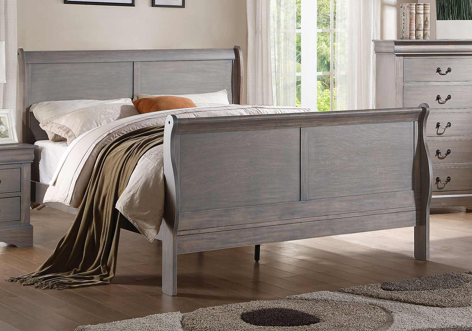 Acme Louis Philippe III Bed - Antique Gray