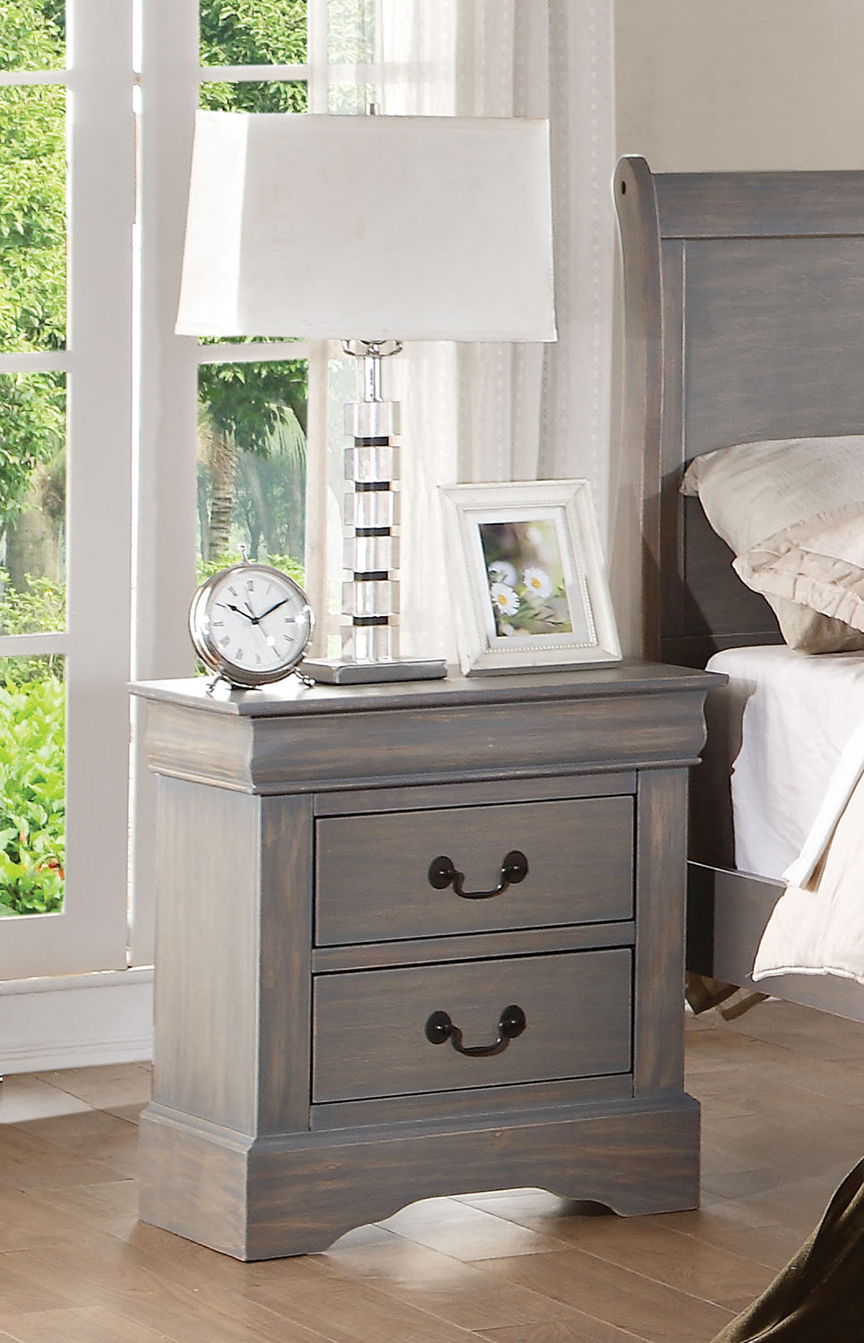 Acme Louis Philippe III Nightstand - Antique Gray