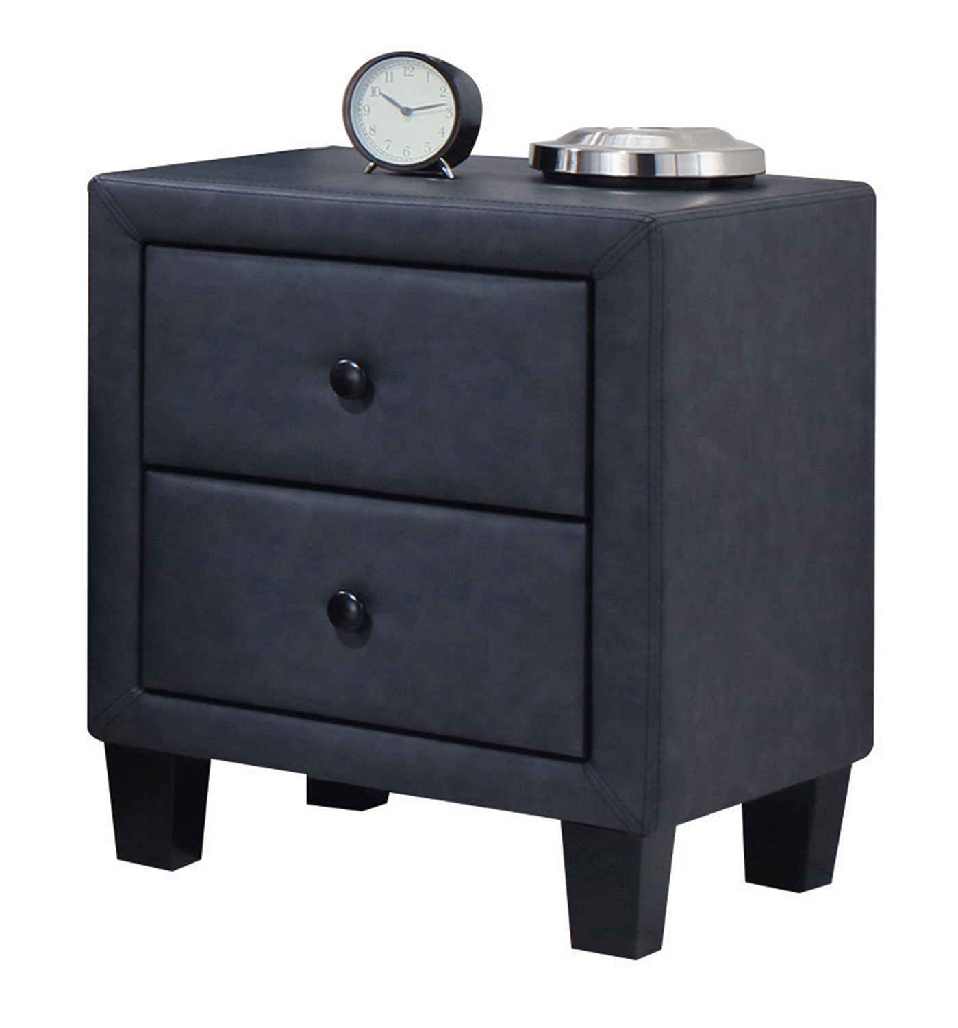 Acme Saveria Nightstand - 2-Tone Gray Vinyl