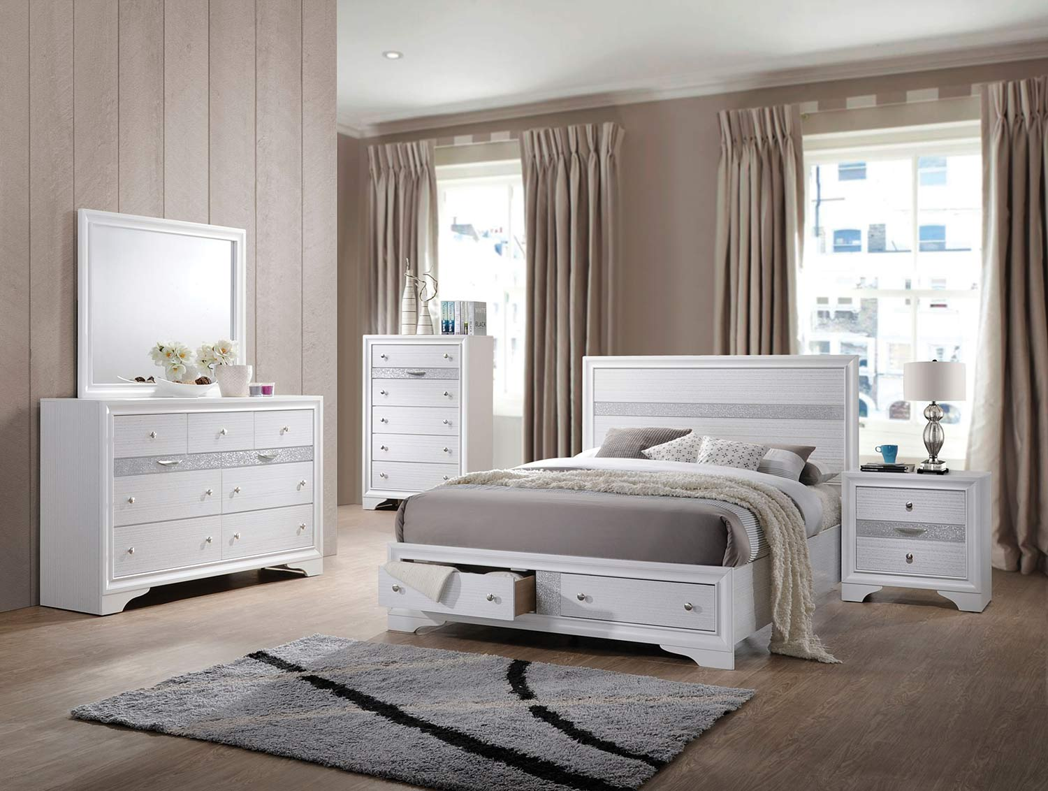Acme Naima Bedroom Set with Storage - White