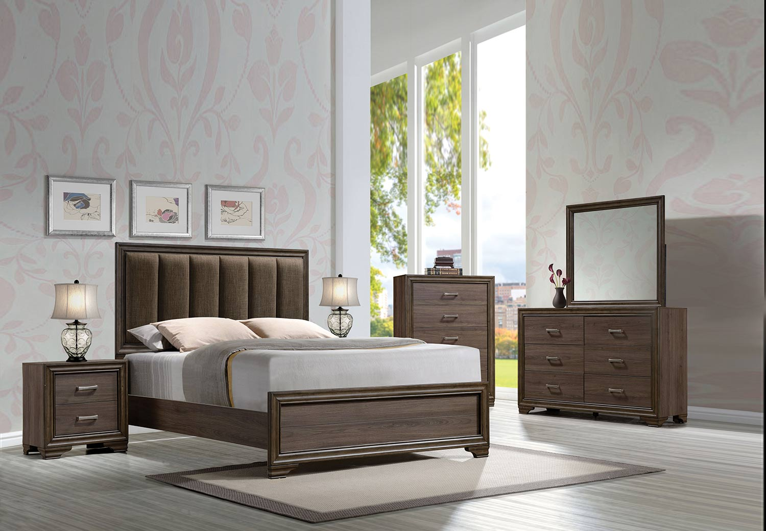 Acme Cyrille Bedroom Set (Padded HB) - Fabric/Walnut