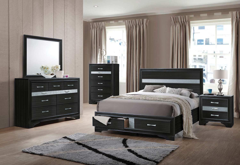 Acme Naima Bedroom Set with Storage - Black