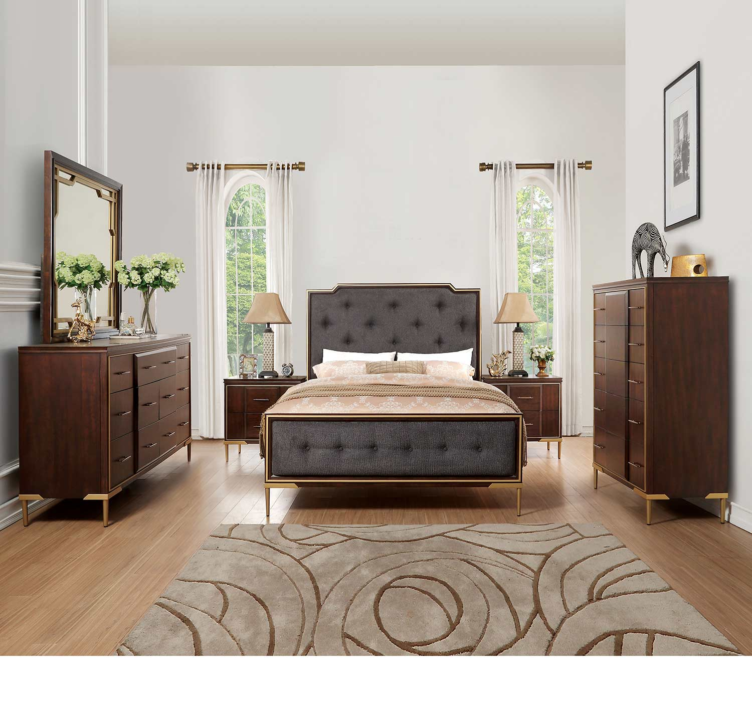 Acme Eschenbach Bedroom Set - Charcoal Fabric/Cherry