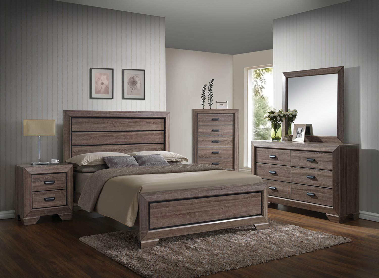 Acme Lyndon Bedroom Set - Weathered Gray Grain