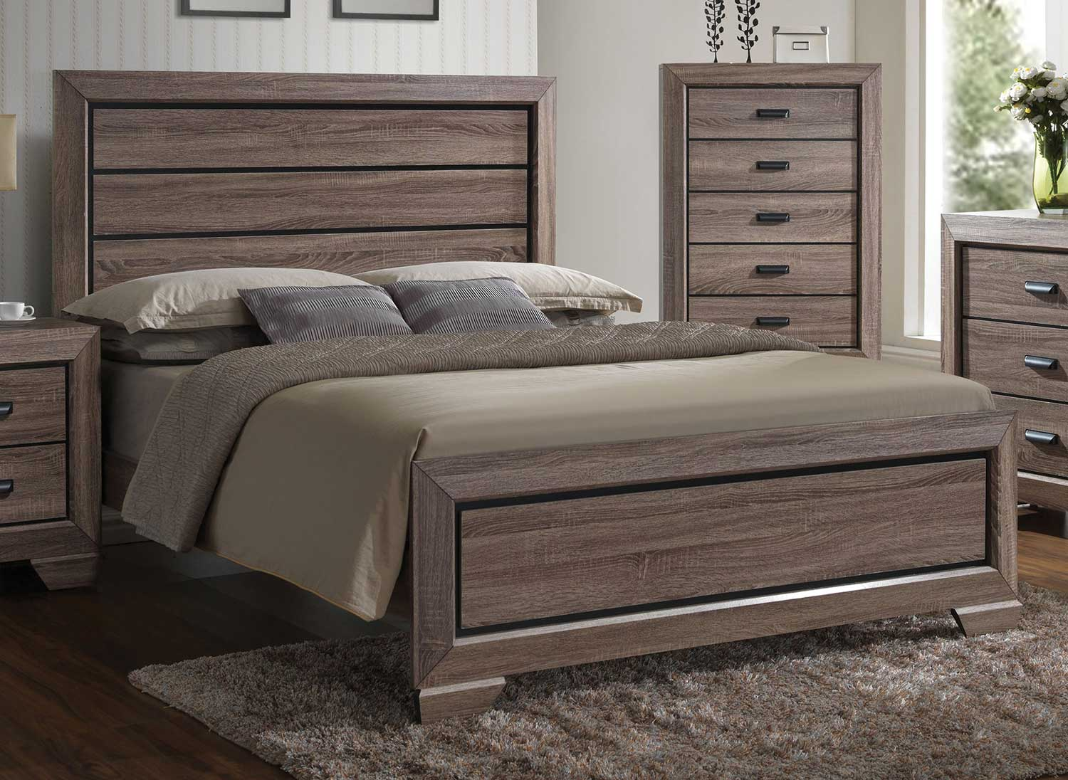 Acme Lyndon Bed - Weathered Gray Grain