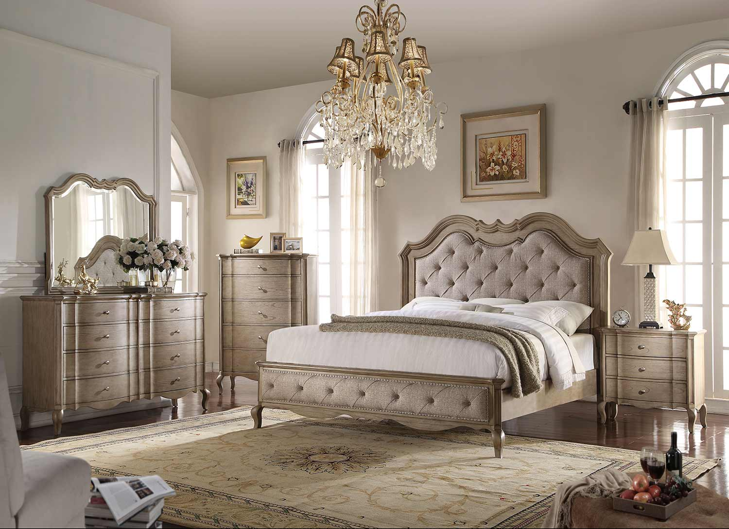 Acme Chelmsford Bedroom Set - Beige Fabric/Antique Taupe