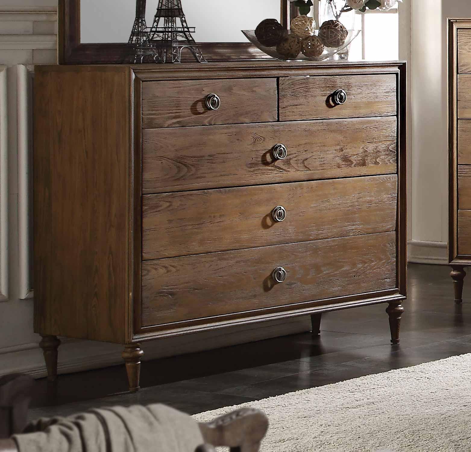 Acme Inverness (Parker) Dresser 5 Drawer - Reclaimed Oak