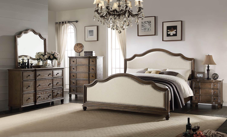 Acme Baudouin Bedroom Set - Beige Linen/Weathered Oak
