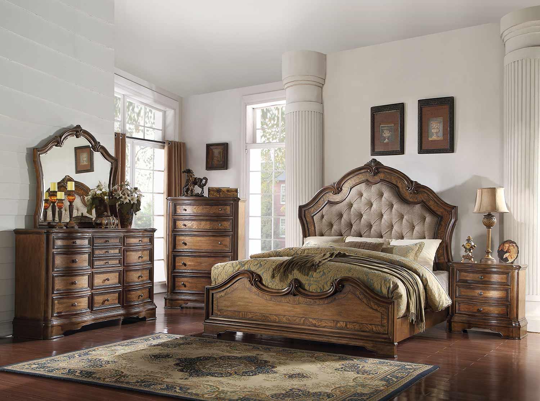 Acme Valletta Bedroom Set - Fabric/Latte Oak