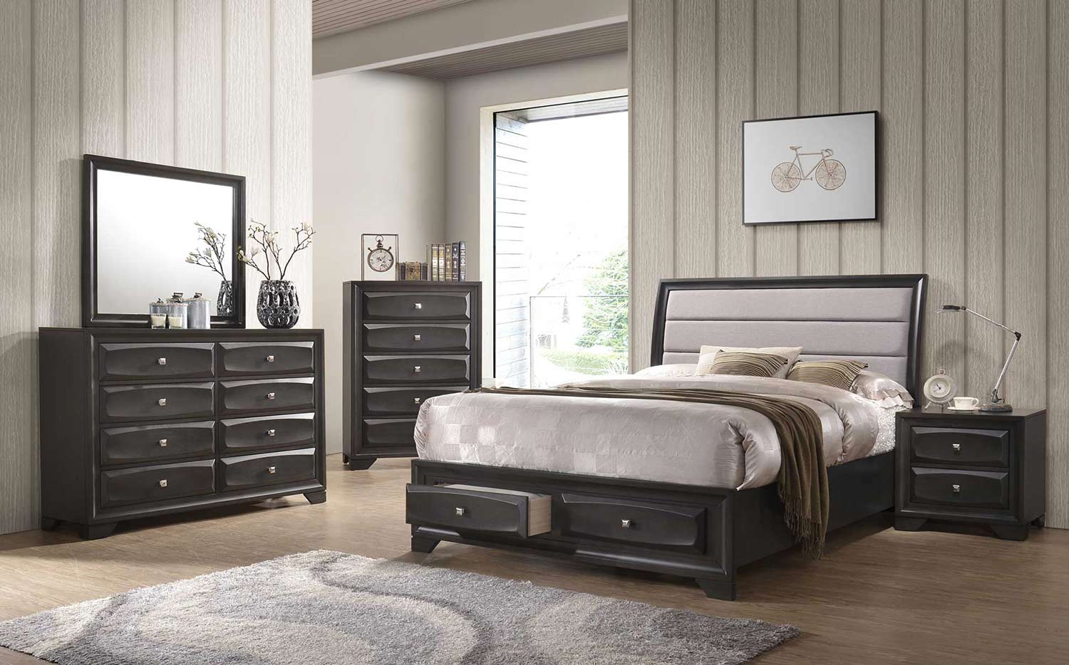 Acme Soteris Bedroom Set with Storage - Gray Fabric/Antique Gray