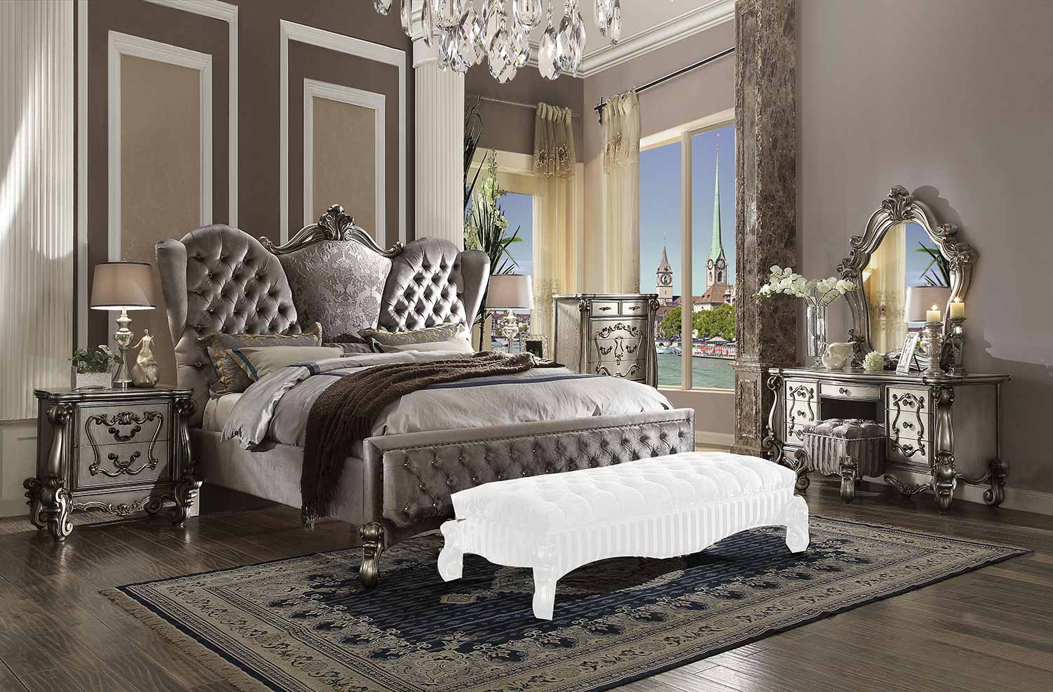 Acme Versailles Bedroom Set - Velvet/Antique Platinum