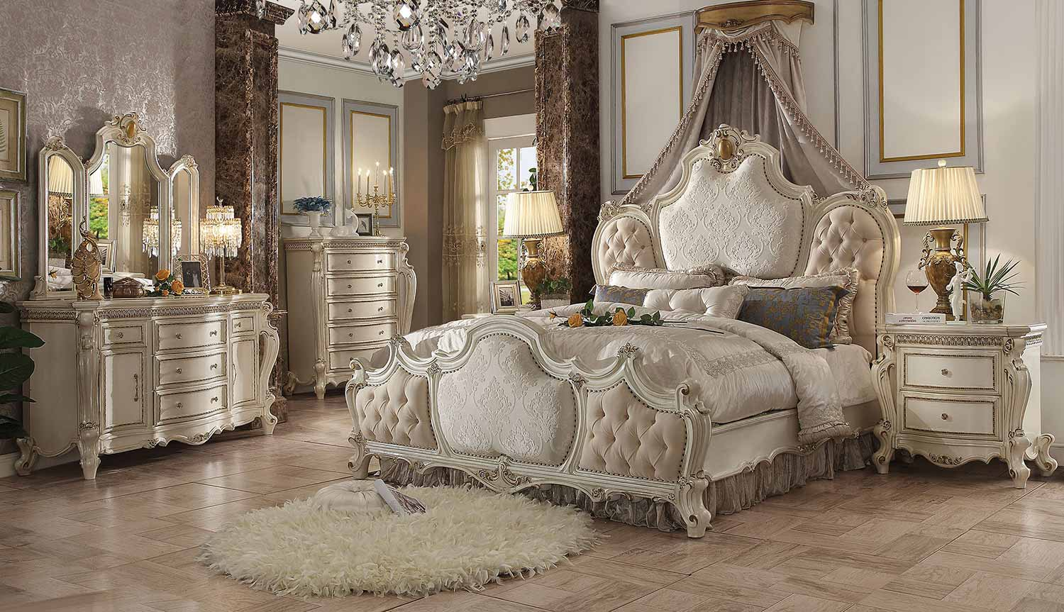 Acme Picardy Bedroom Set - Fabric/Antique Pearl