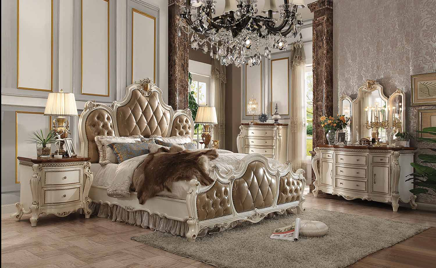 Acme Picardy Bedroom Set - Vinyl/Antique Pearl
