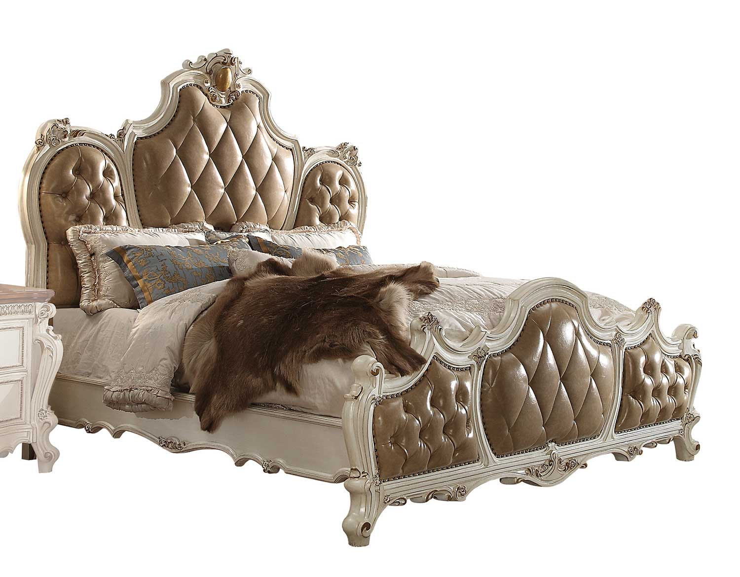 Acme Picardy Bed - Vinyl/Antique Pearl