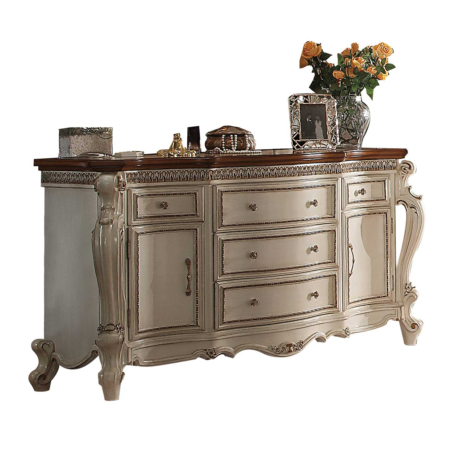 Acme Picardy Dresser - Antique Pearl/Cherry Oak