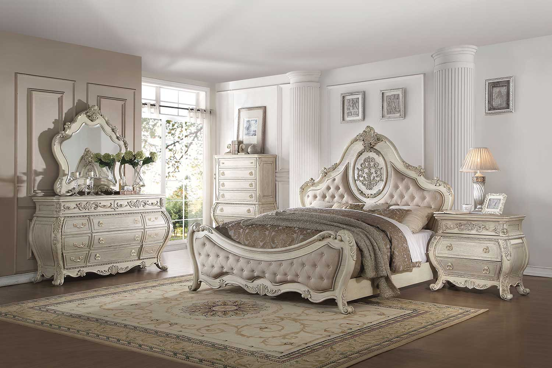 Acme Ragenardus Bedroom Set - Beige Linen/Antique White