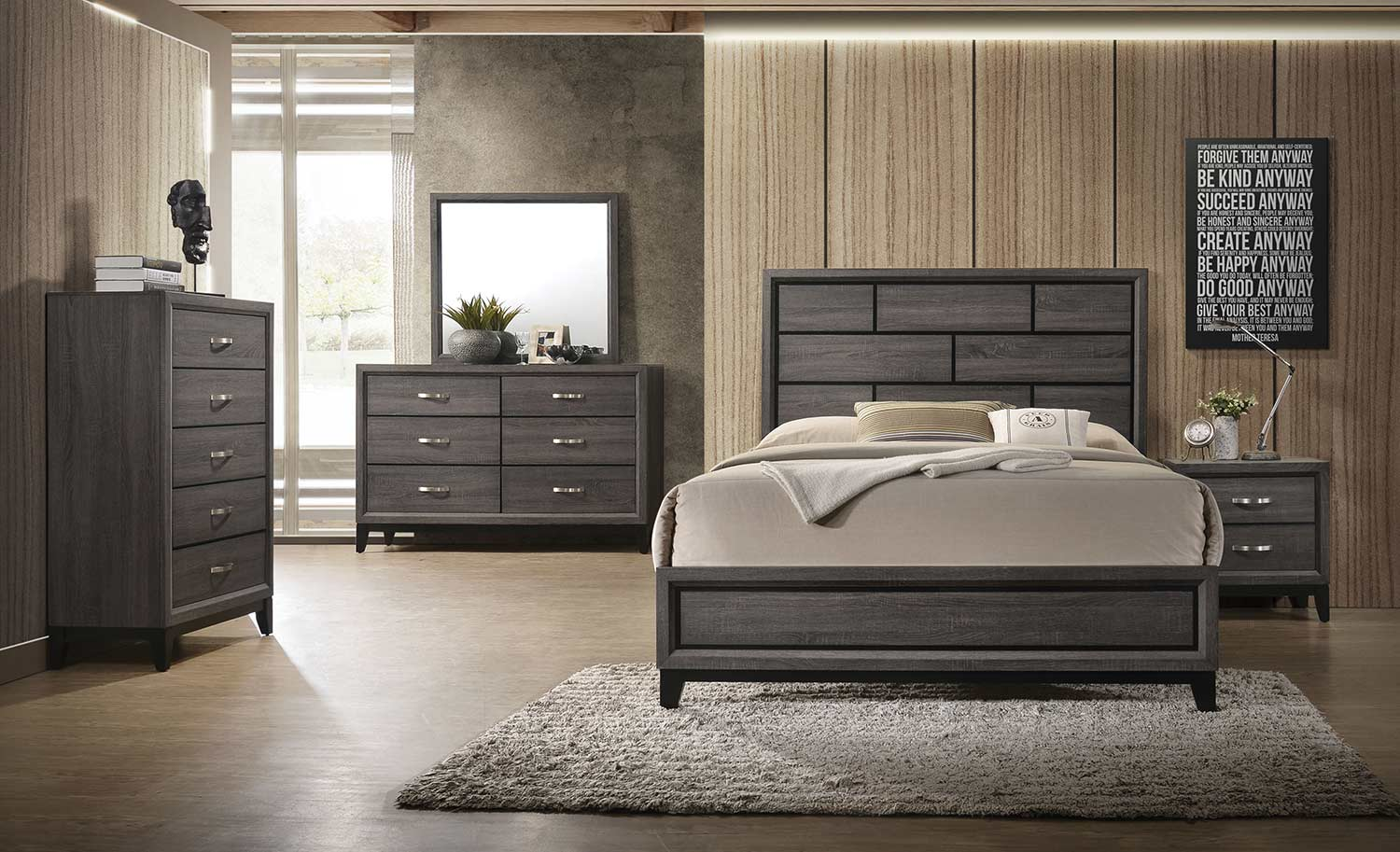 Acme Valdemar Bedroom Set - Weathered Gray