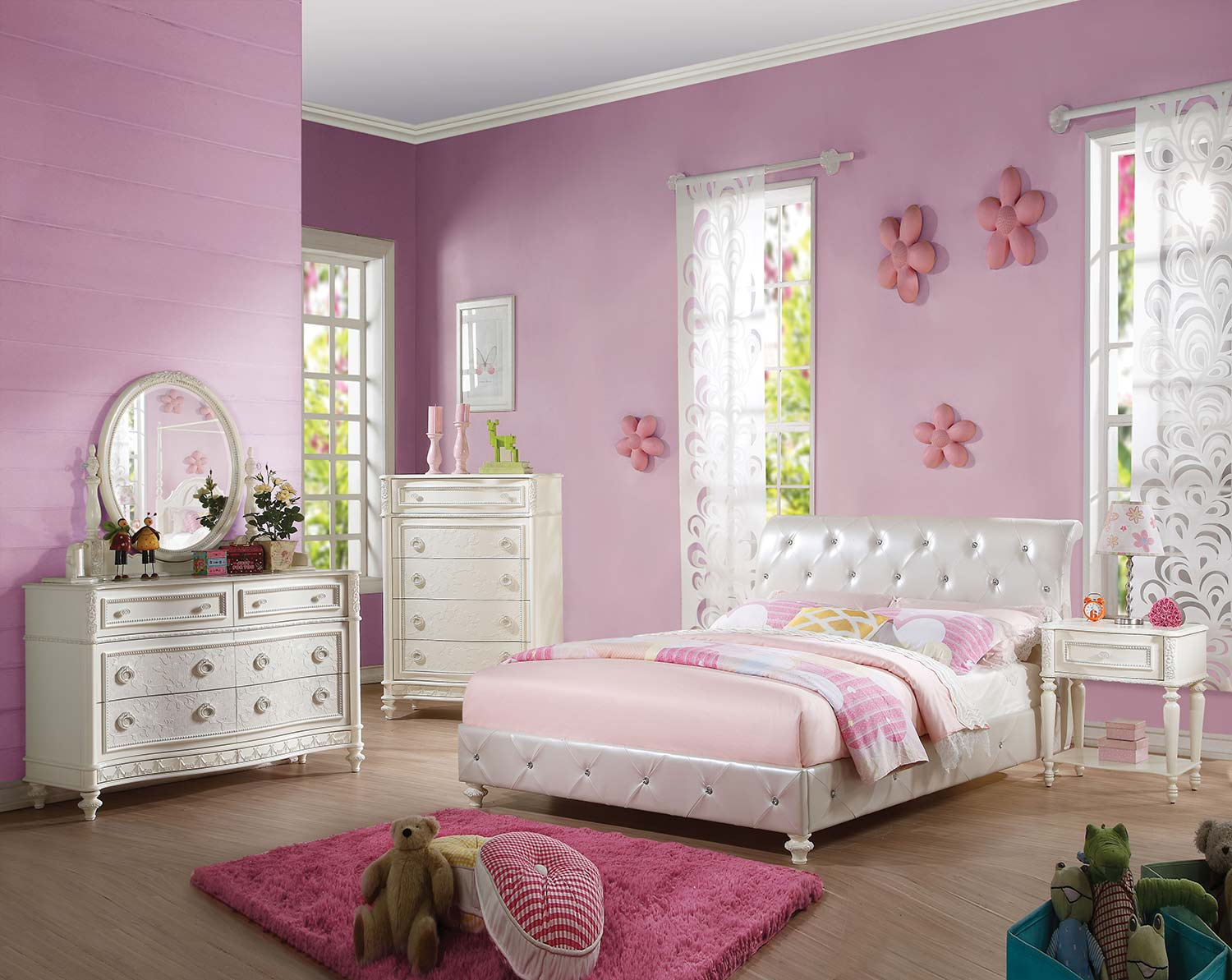 Acme Dorothy Bedroom Set with Padded Sleigh - Pearl White Vinyl/Ivory