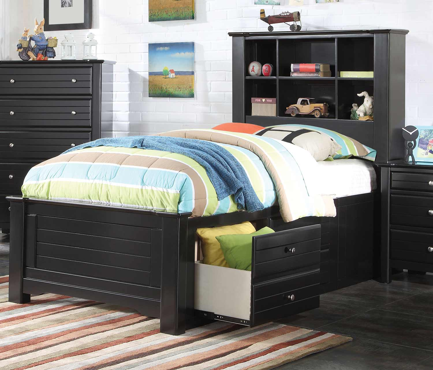 Acme Mallowsea Bed with Storage Rail - Black