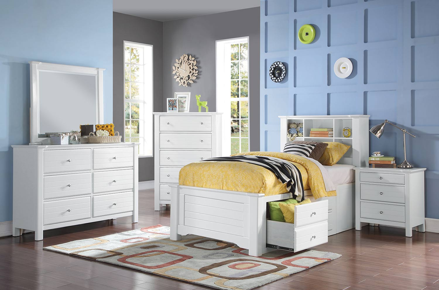 Acme Mallowsea Bedroom Set with Storage Rail - White