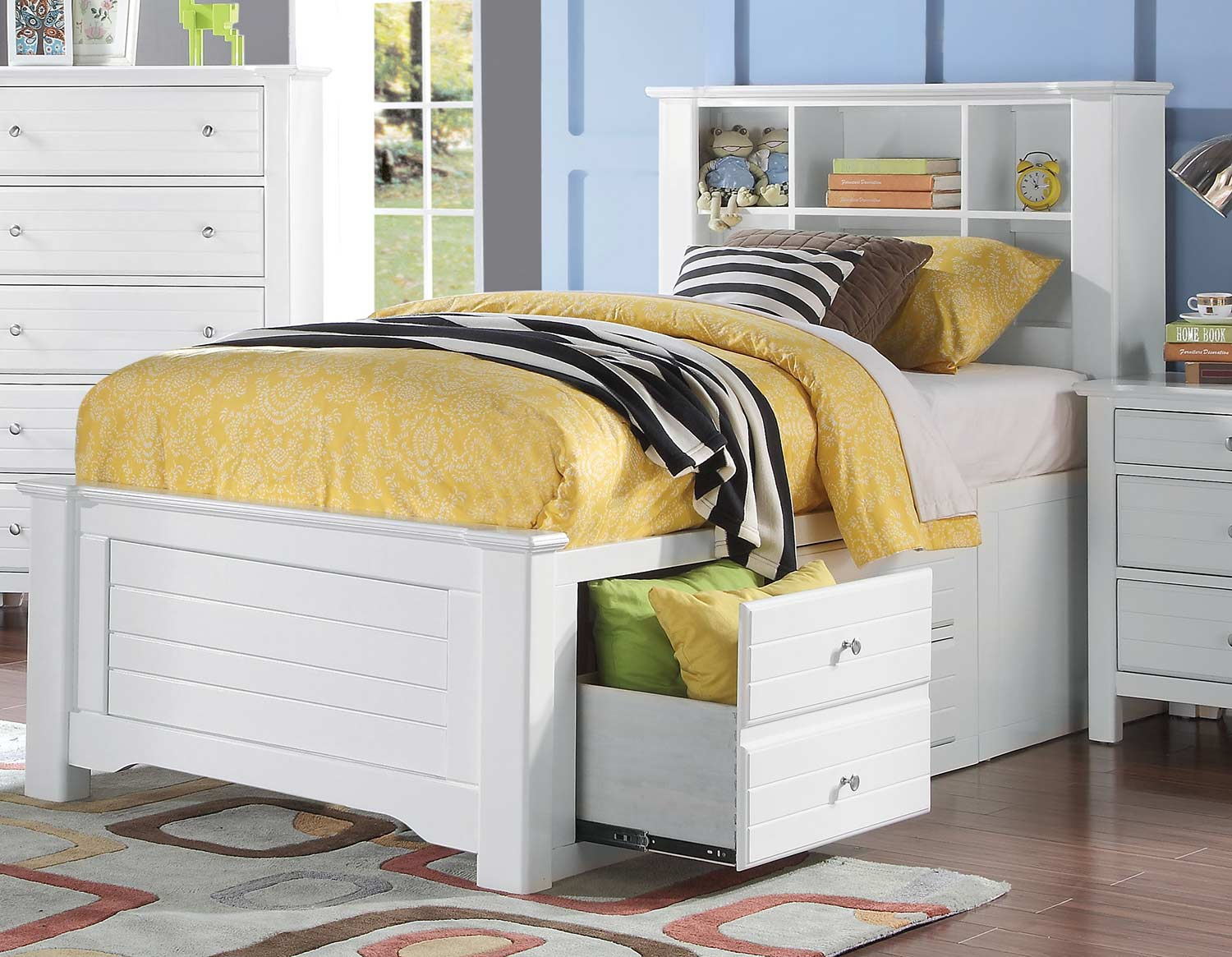 Acme Mallowsea Bed with Storage Rail - White
