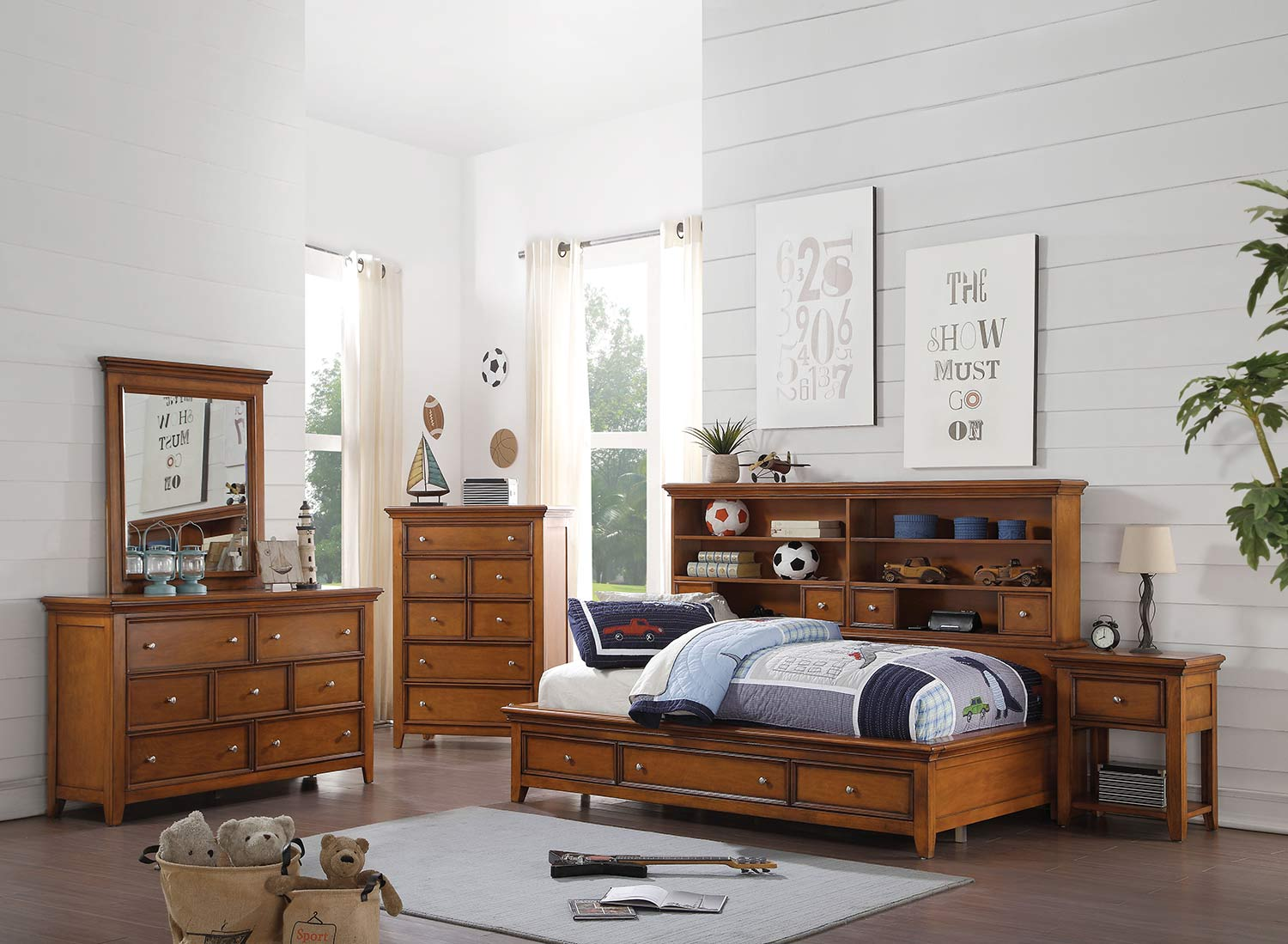 Acme Lacey Daybed Room Set with Storage - Cherry Oak