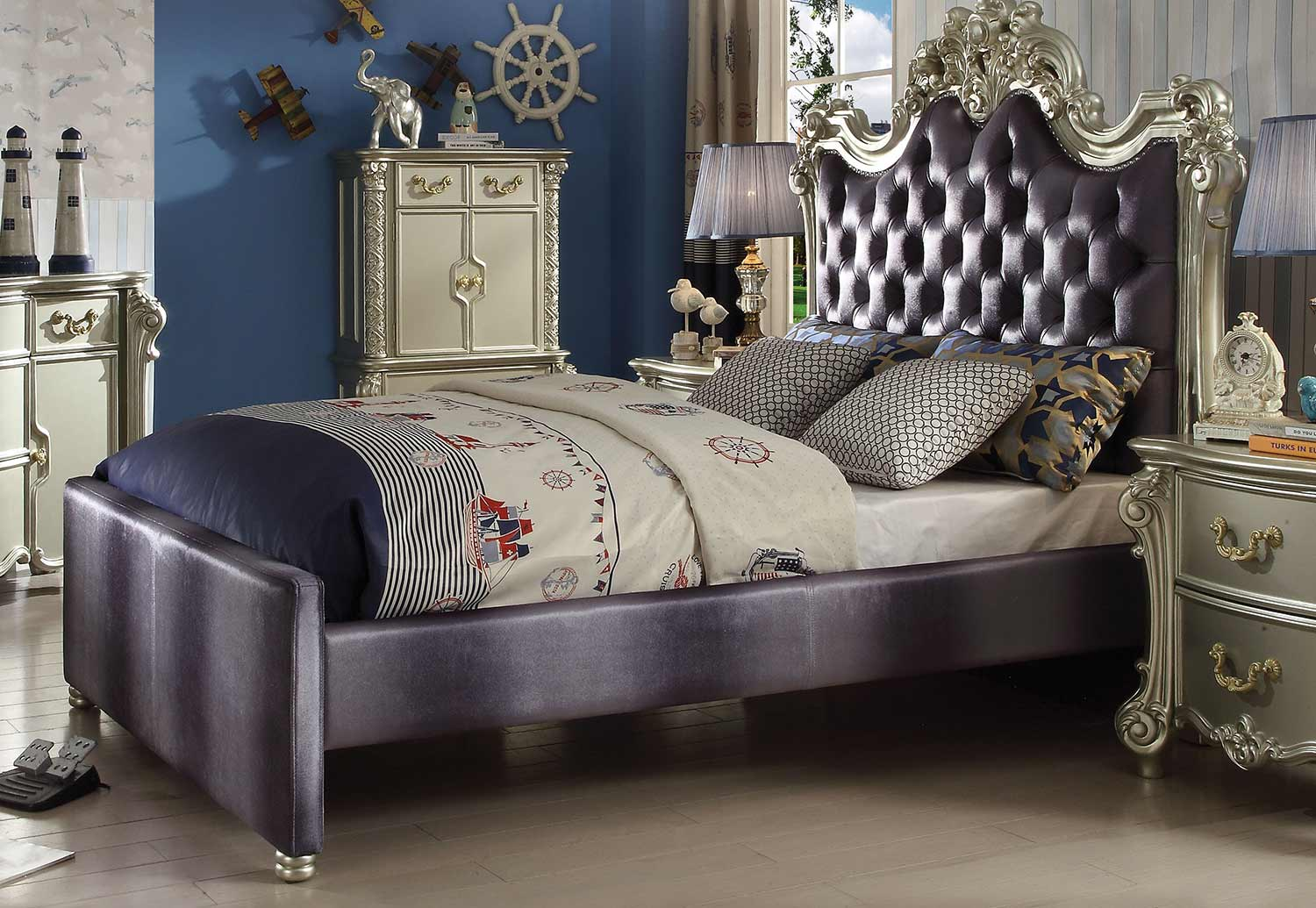 Acme Vendome II Bed - Gray Fabric/Champagne