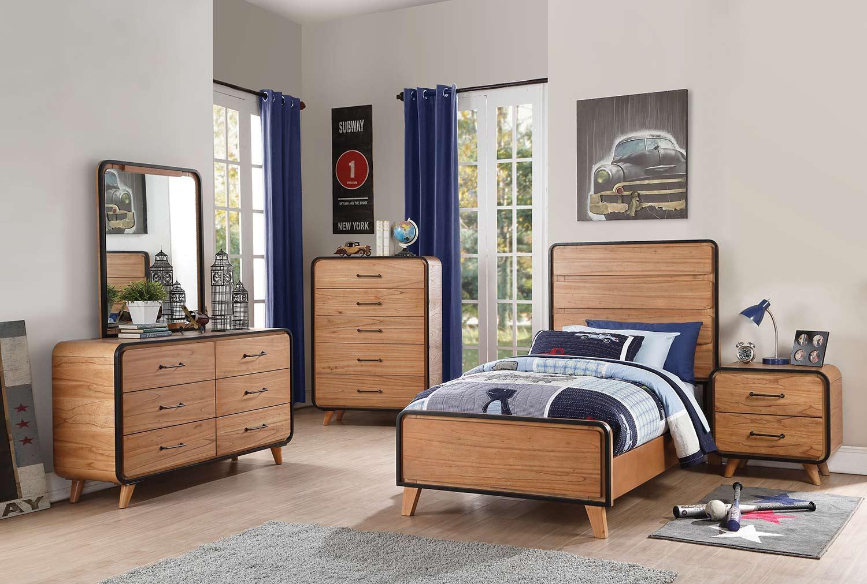 Acme Carla Bedroom Set - Oak/Black