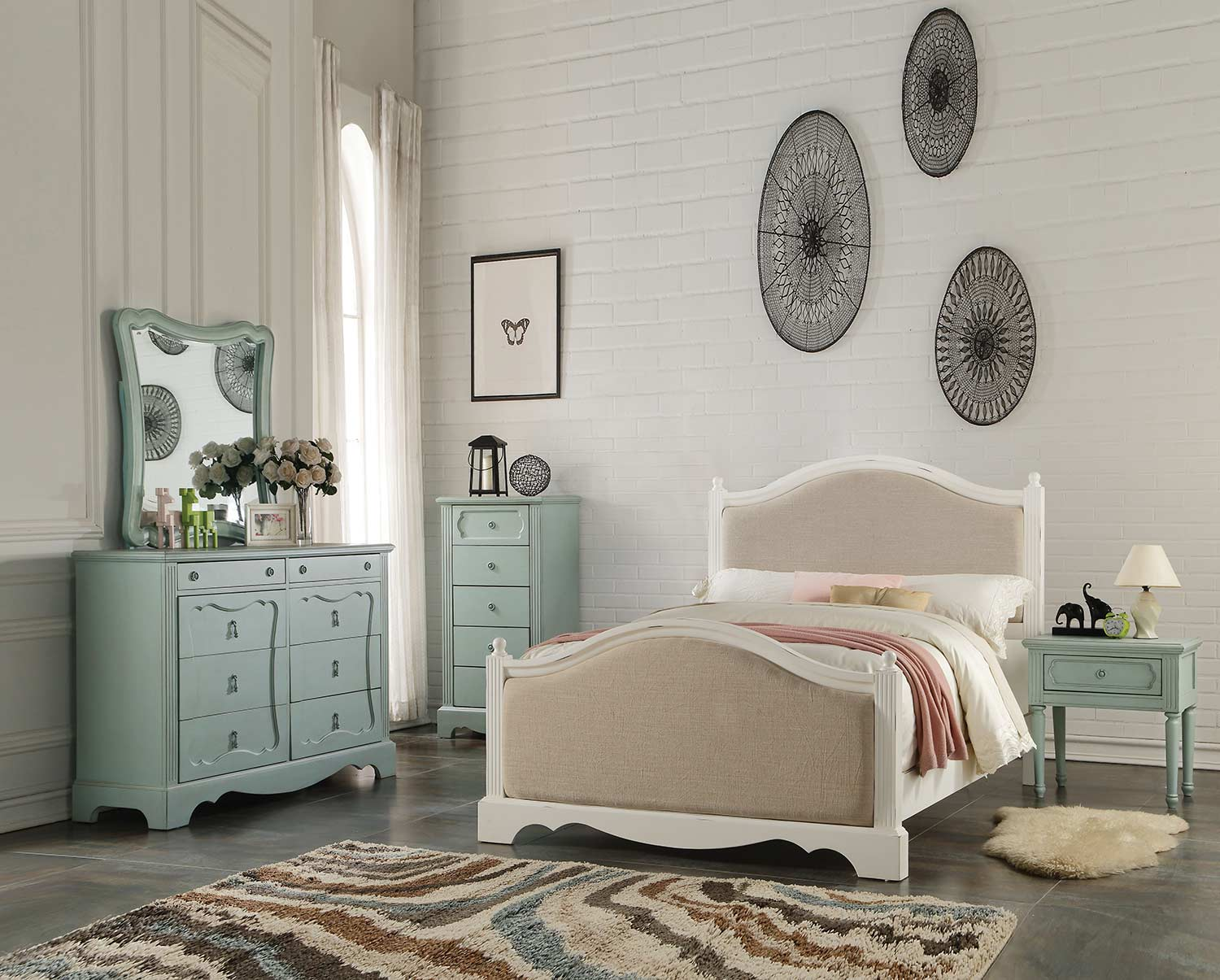 Acme Morre Bedroom Set - Beige Linen/Antique White