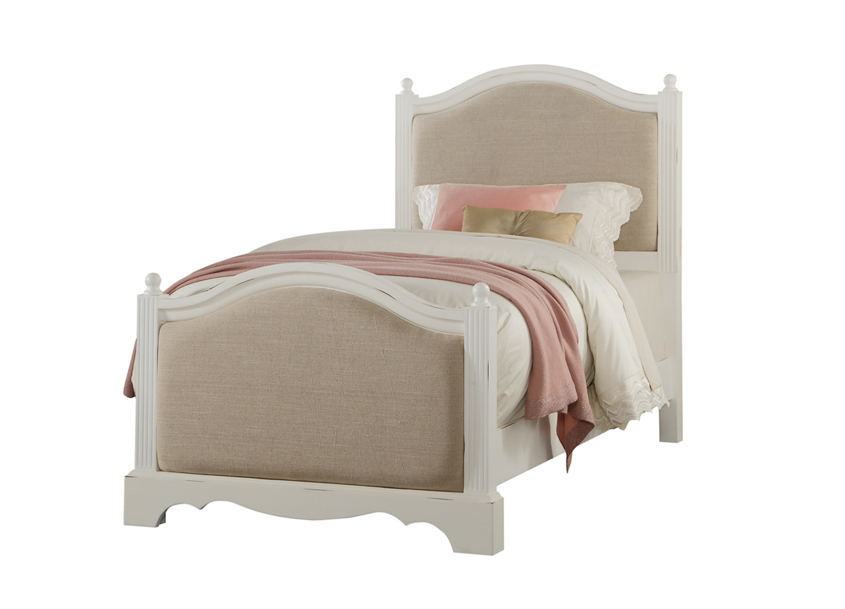 Acme Morre Bed - Beige Linen/Antique White