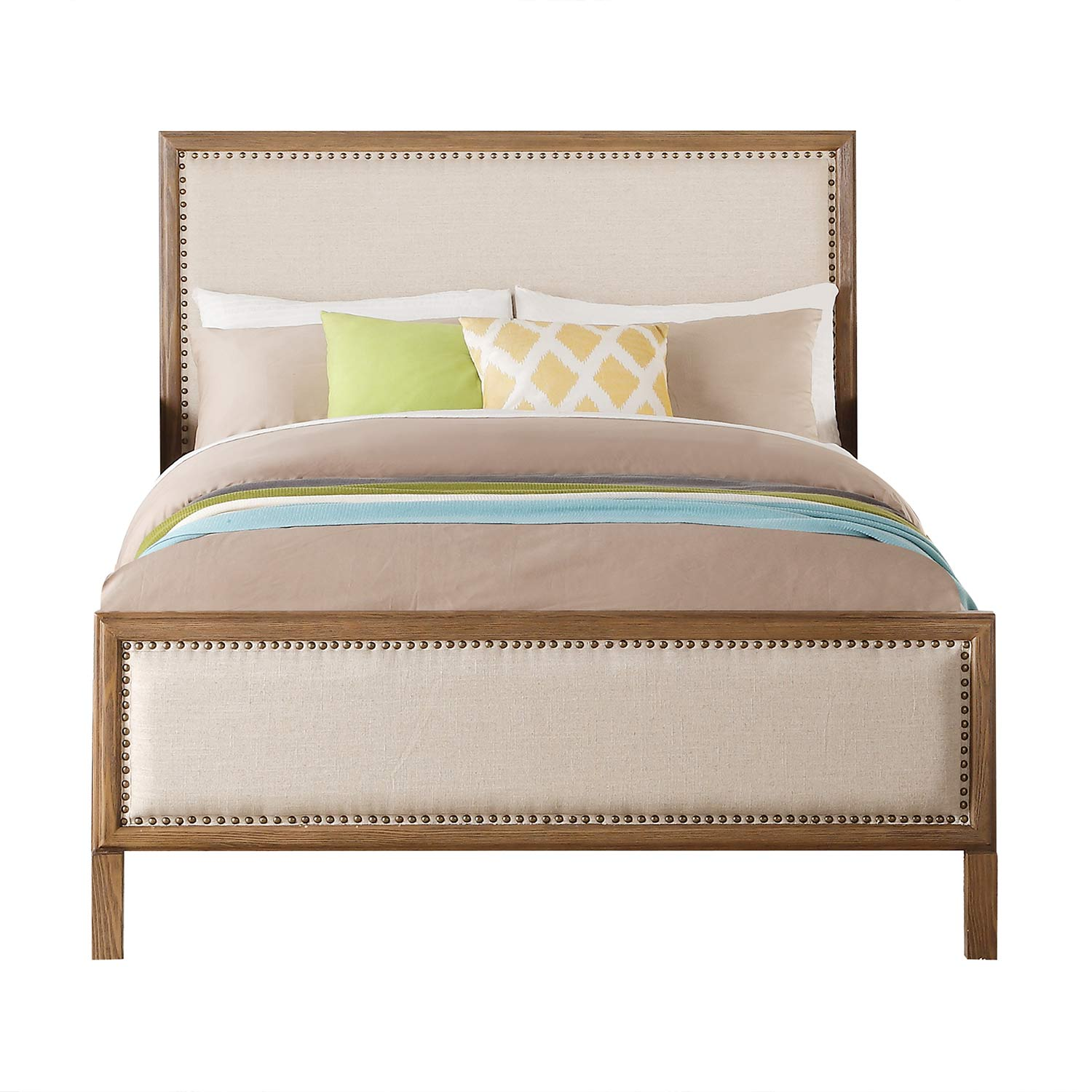 Acme Inverness Bed - Beige Linen/Reclaimed Oak