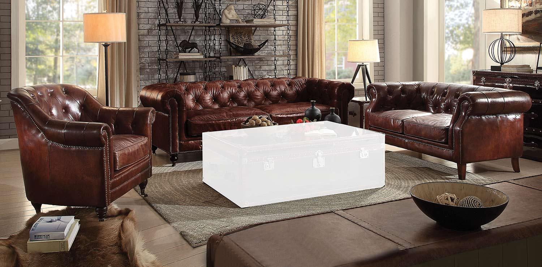 Acme Aberdeen Sofa Set - Vintage Dark Brown TG Leather