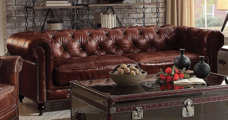 Acme Aberdeen Sofa - Vintage Dark Brown TG Leather