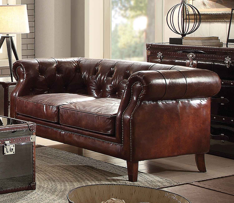 Acme Aberdeen Loveseat - Vintage Dark Brown TG Leather