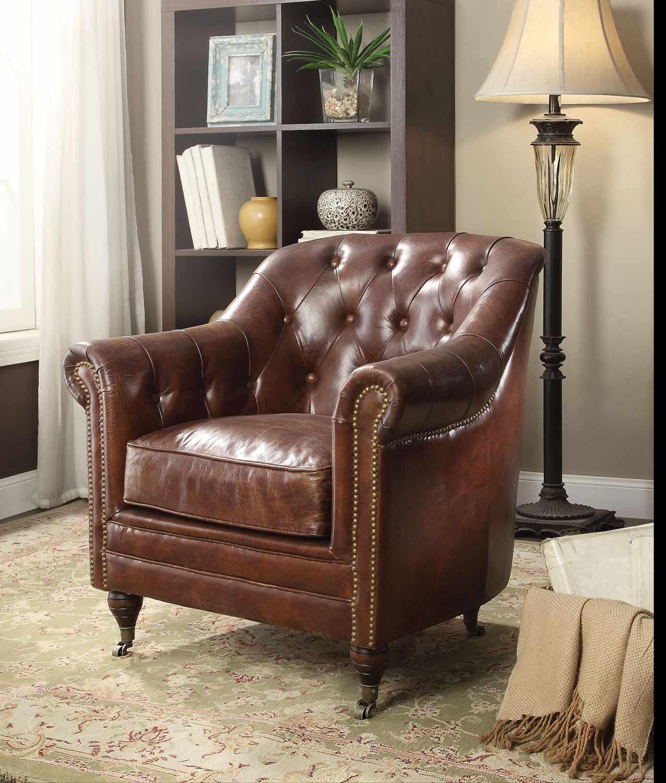 Acme Aberdeen Chair - Vintage Dark Brown TG Leather
