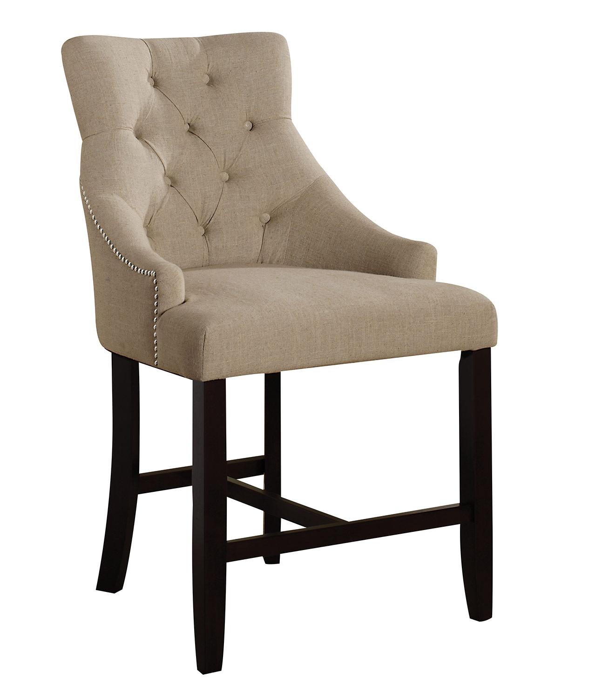 Acme Drogo Counter Height Chair - Cream Fabric/Walnut