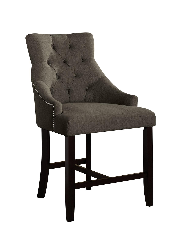 Acme Drogo Counter Height Chair - Gray Fabric/Walnut