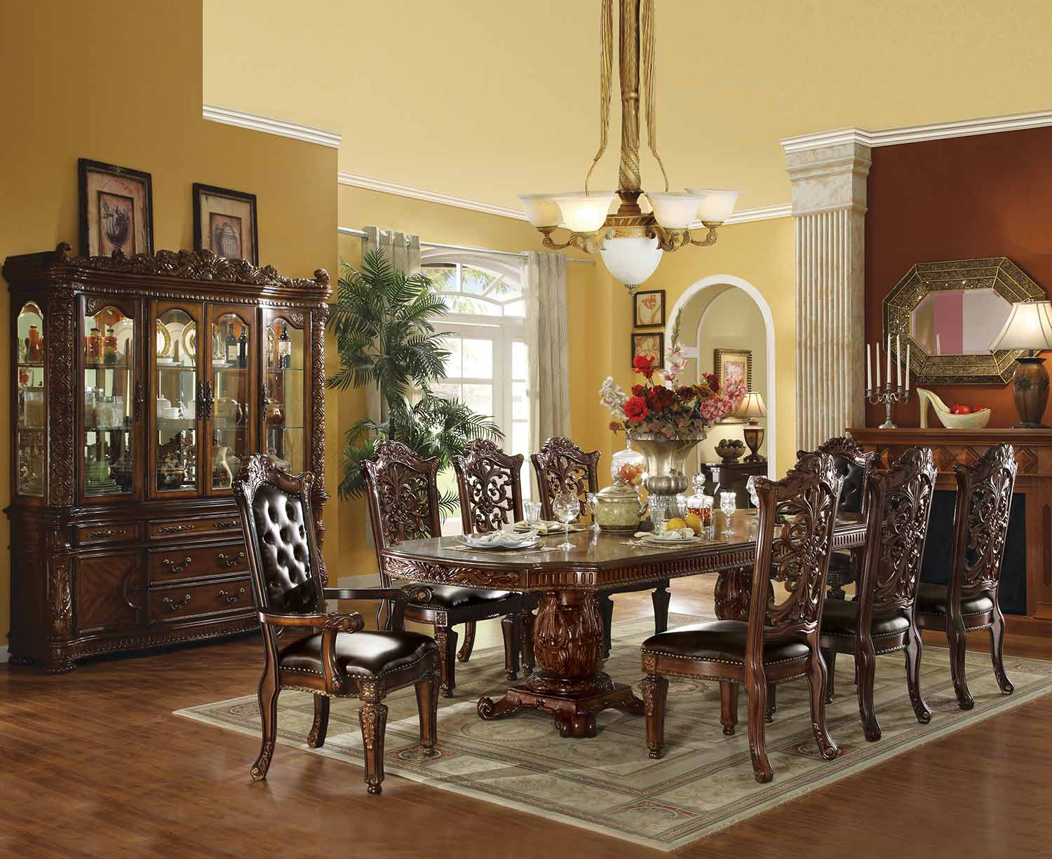 Acme Vendome Dining Set with Double Pedestal (120L Table) - Cherry