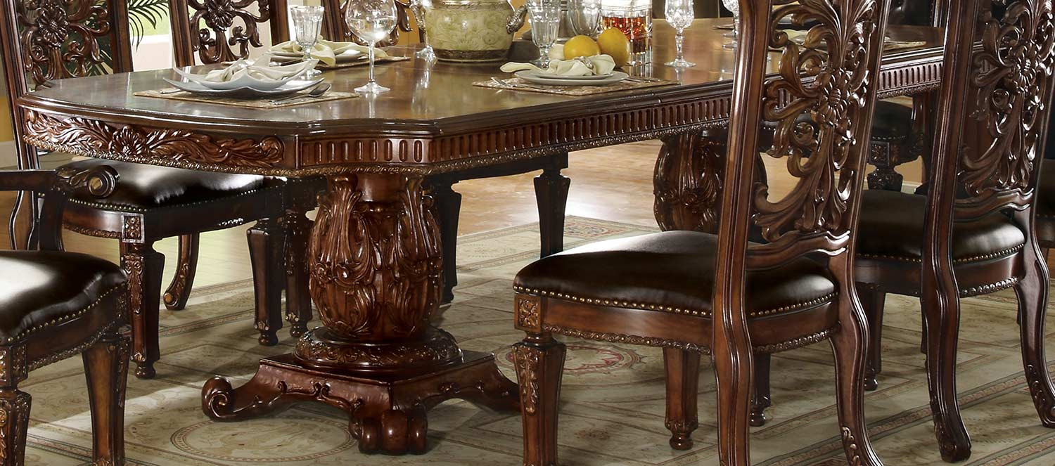 Acme Vendome Dining Table with Double Pedestal (120L) - Cherry