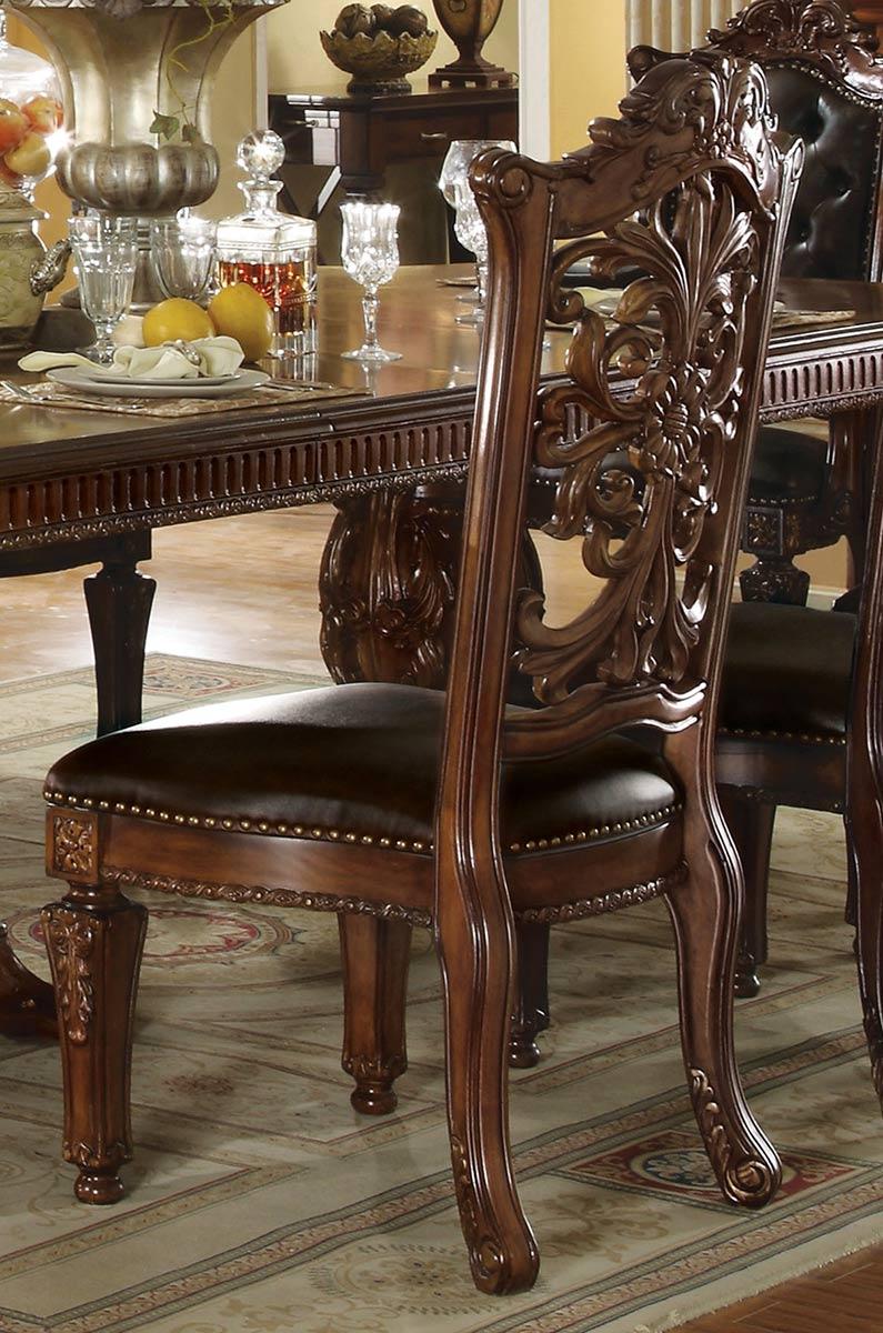 Acme Vendome Side Chair (Wooden Backrest) - Vinyl/Cherry