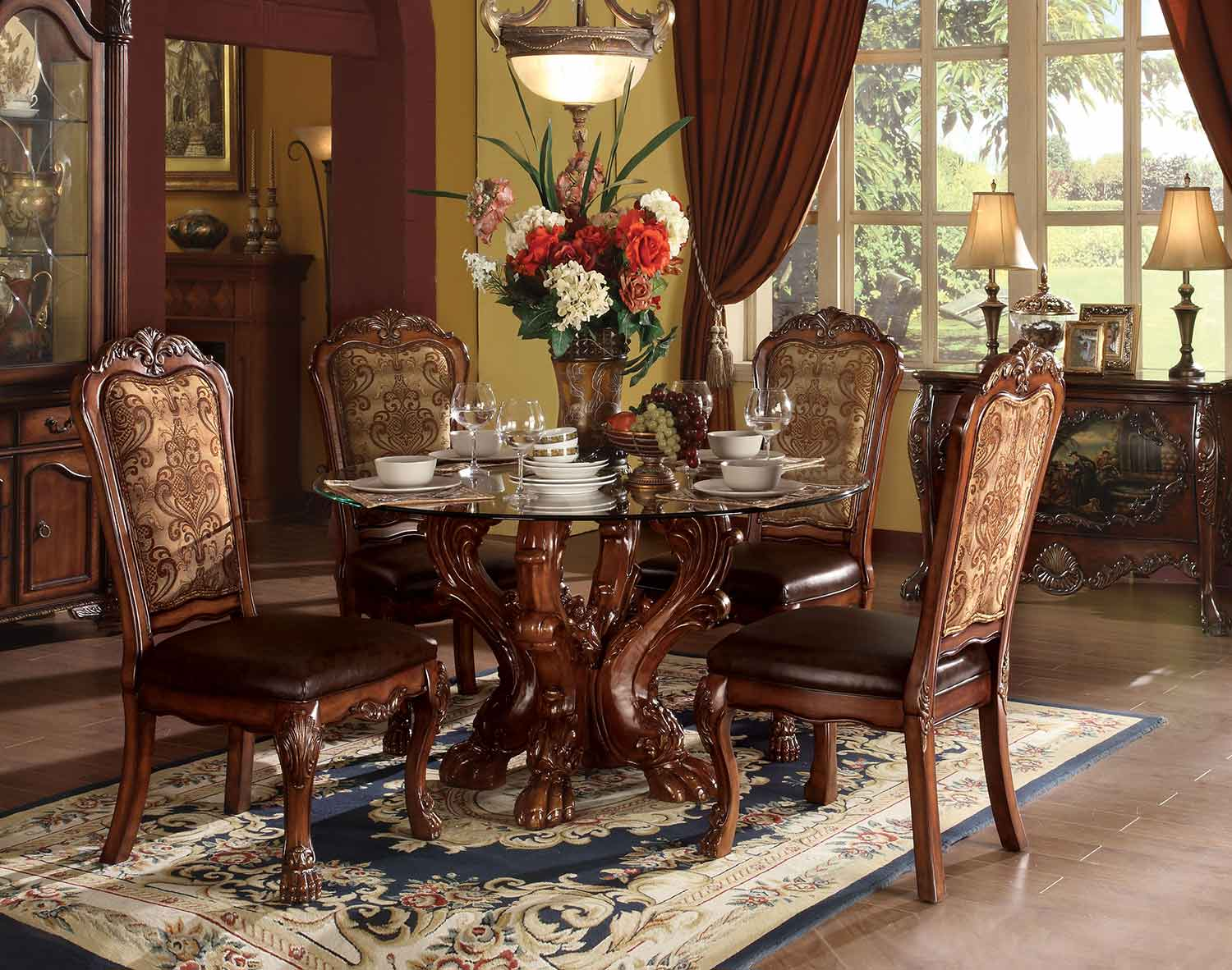Acme Dresden Dining Set with Single Pedestal - Cherry Oak