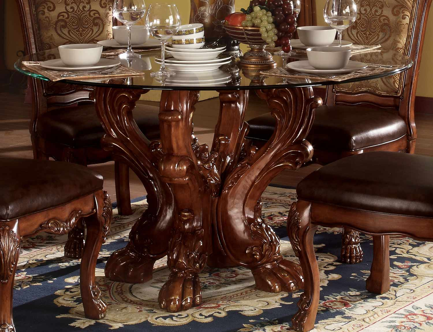 Acme Dresden Dining Table with Single Pedestal - Cherry Oak