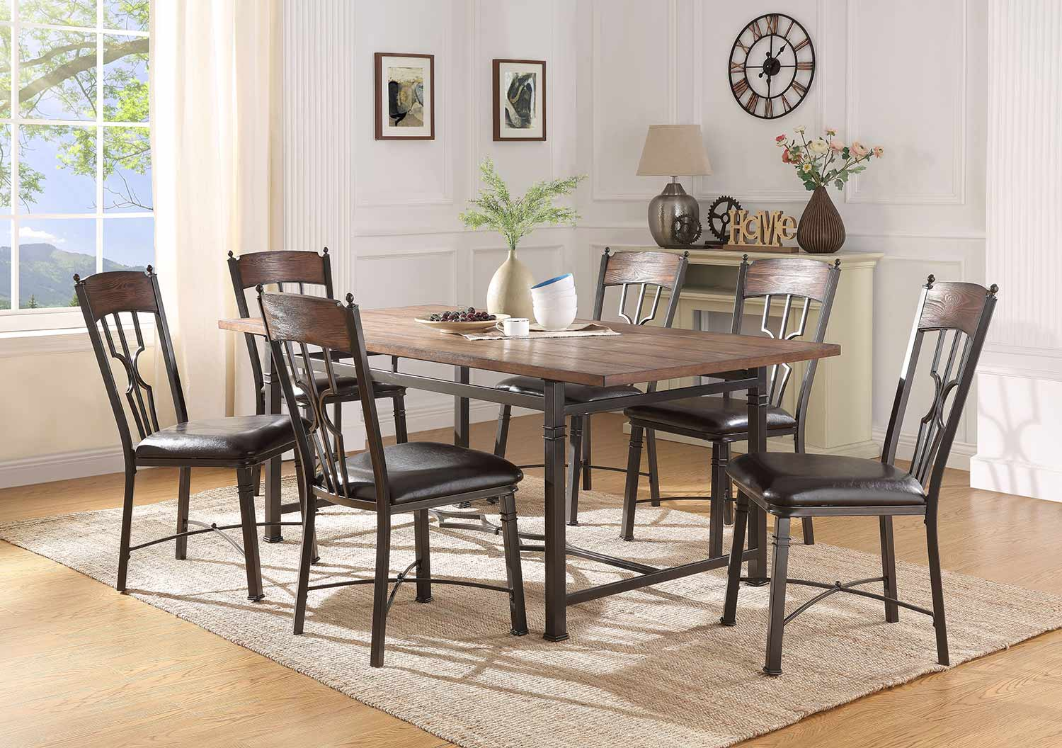 Acme LynLee Dining Set - Weathered Dark Oak/Dark Bronze