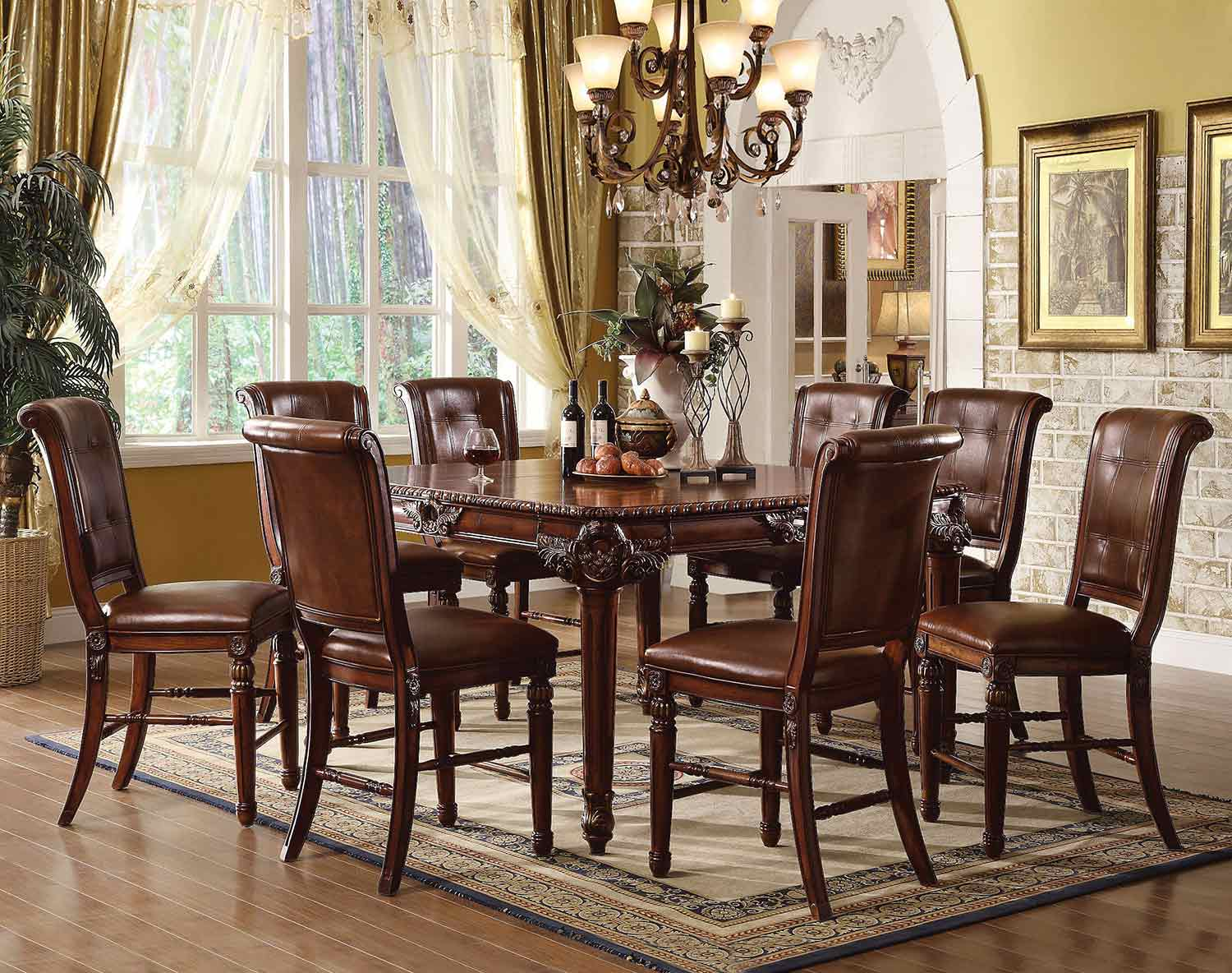 Acme Winfred Counter Height Dining Set - Cherry