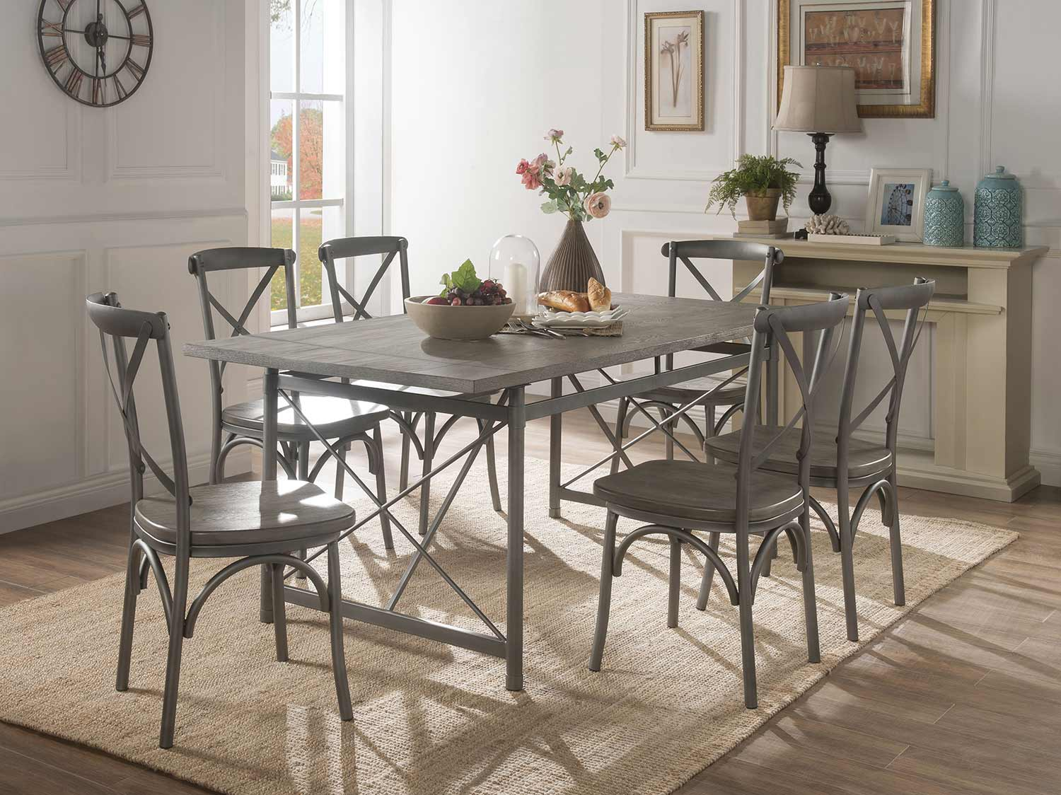 Acme Kaelyn II Dining Set - Gray Oak/Sandy Gray