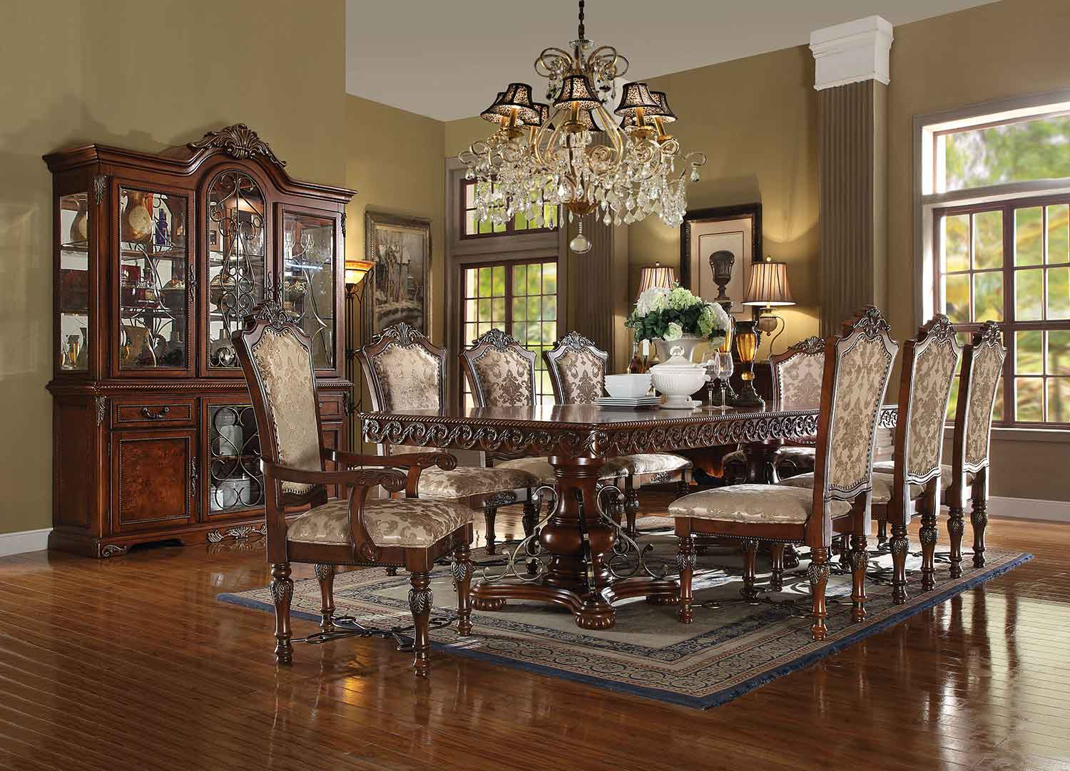 Acme Wycliff Dining Set with Double Pedestal - Cherry